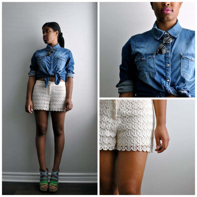 denim eyelet shorts
